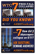 Yard sign showing the freefall collapse of WTC 7 and the three light beams symbolizing the three towers which fell on September 11th, 2001.