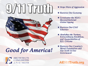 Yard sign with important points on why 911 Truth is good for America